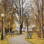 Latarnie z kulistymi oprawami zdjęcie z parku